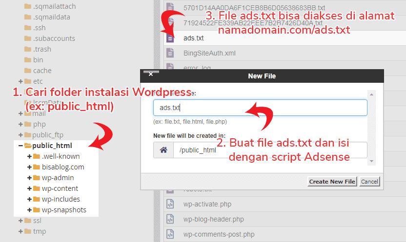 Cara buat ads.txt di WordPress dan mengaktifkannya