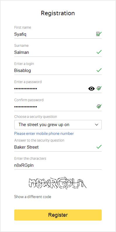 Cara daftar Yandex Email