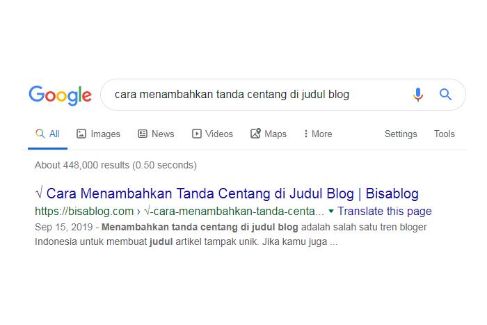 cara menambahkan tanda centang sebelum judul blog