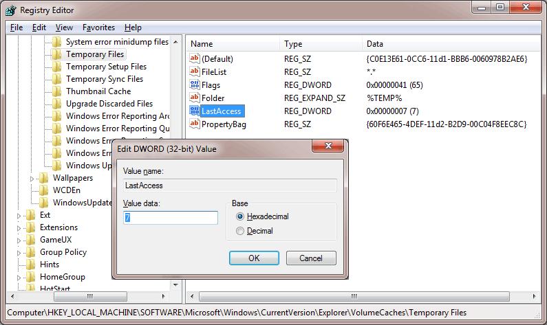 Ganti jangka waktu temp folder yang dapat dihapus oleh Disk Cleanup