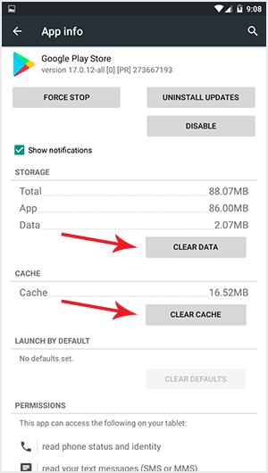 Bersihkan data dan cache sebelum memperbarui layanan Google Play Store