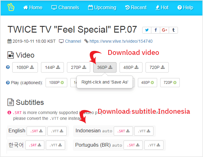 Download video vlive dan subtitle Indonesia dari Soshistagram
