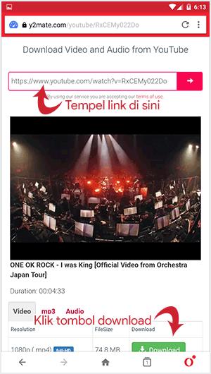 Cara menyimpan video dari Youtube ke galeri handphone melalui situs y2mate