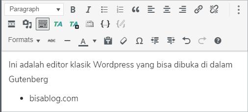 Gunakan editor klasik WordPress langsung di Gutenberg