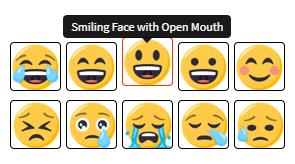 Contoh ragam pilihan emoji yang bisa dipilih untuk membuat tulisan unik