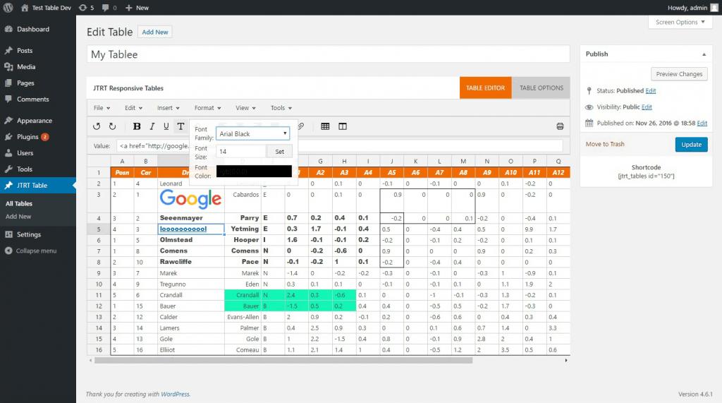 Plugin tabel wordpress terbaik dari JTRT Responsive Tables