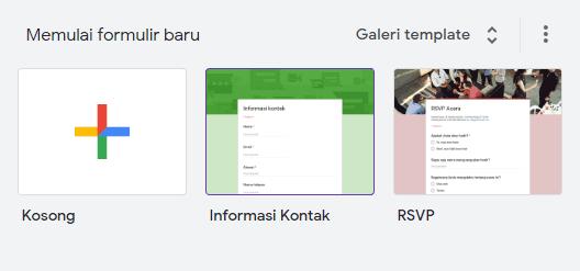 Pilih template 'Informasi Kontak' untuk membuat form kontak dengan cepat.