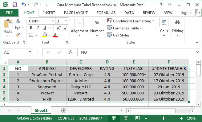 Salin langsung data dari Excel ke Tables Generator dengan mudah