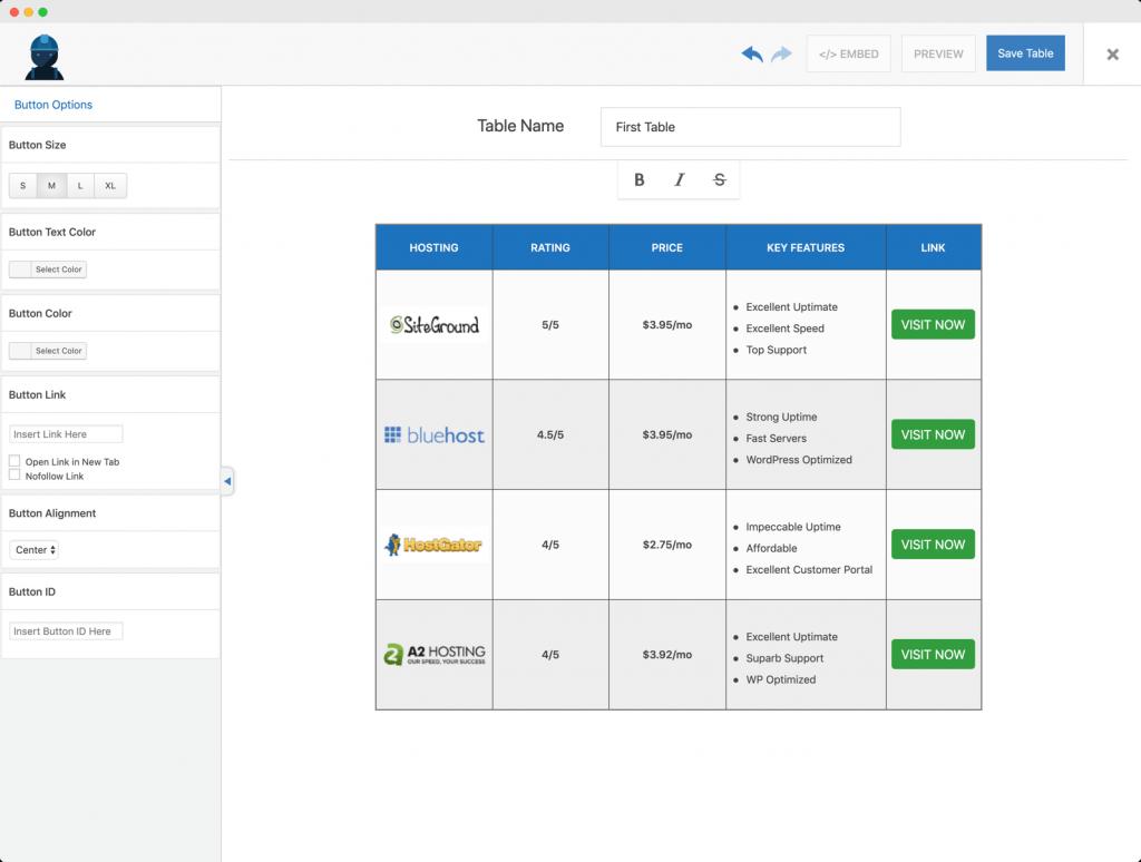 Cara menambahkan tabel di postingan WordPress dengan Wp Table Builder