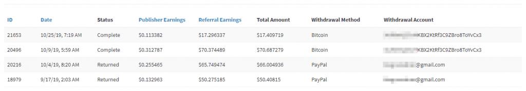 Bukti pembayaran Za.gl ke dompet Bitcoin