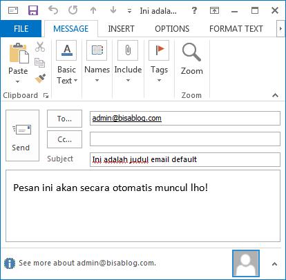 Contoh judul dan isi pesan default yang bisa kita atur di link email yang bisa diklik.