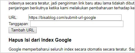 Gunakan Google AddURL untuk submit URL baru ke mesin pencari