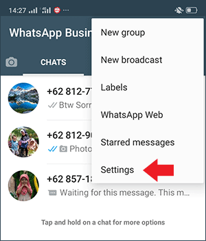 buka menu settings untuk mulai membuat link whatsapp di wa bisnis