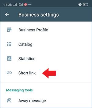 gunakan menu short link untuk membuat link wa di whatsapp business