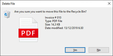 Muncul konfirmasi delete saat menghapus file/folder Windows 8 & 10