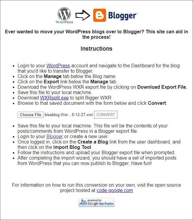 Konversi file XML WordPress agar kompatibel saat diimport dari Blogger