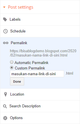 Custom permalink di blog Blogger