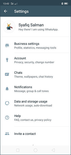 Pilih menu Settings ► Chats di Whatsapp