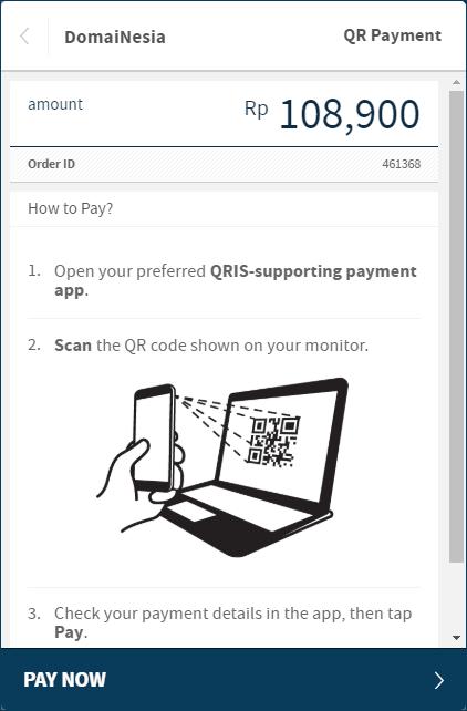 Cara pembayaran domain dengan QR Payment di Domainesia