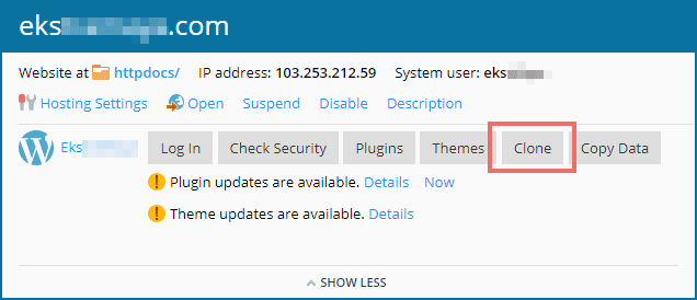 Buat kloning website dengan fitur Clone di Plesk