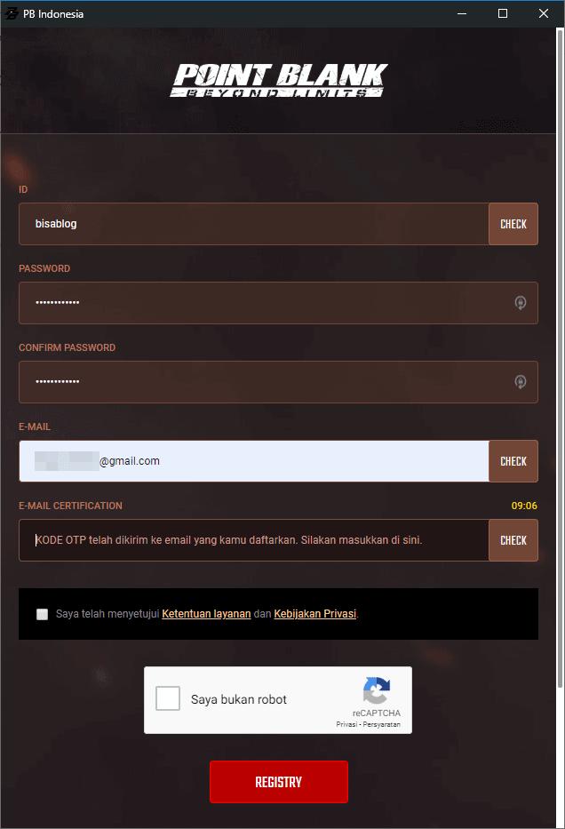Isi form pendaftaran untuk buat akun pb ( point blank)