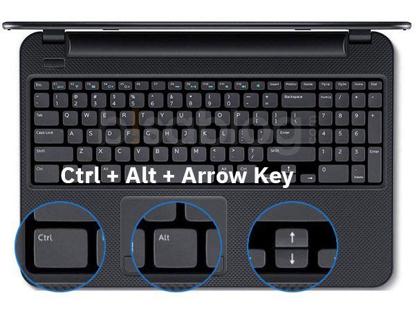 cara mengembalikan layar laptop terbalik dengan shortcut Windows