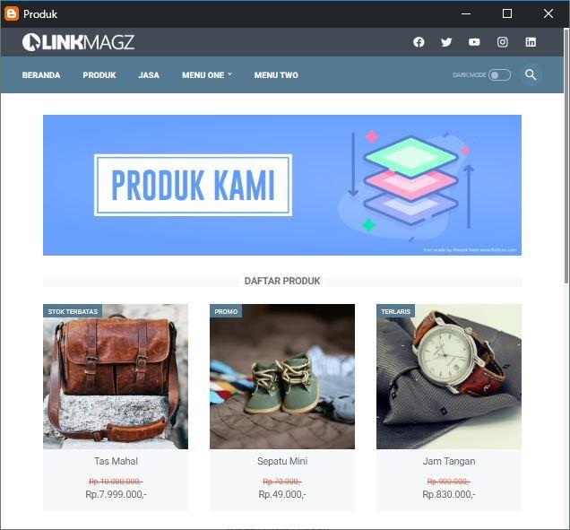 Tampilan halaman produk/jasa pada template Linkmagz