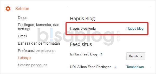 Cara menghapus akun Blogspot