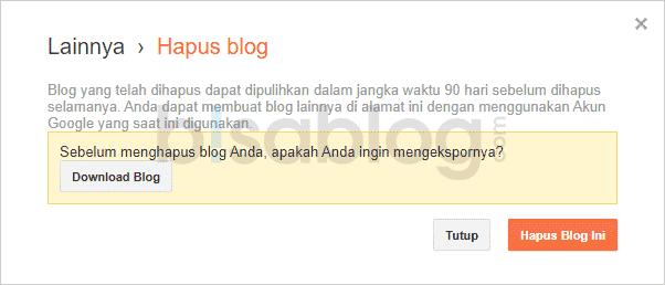popup konfirmasi saat menghapus akun Blogspot