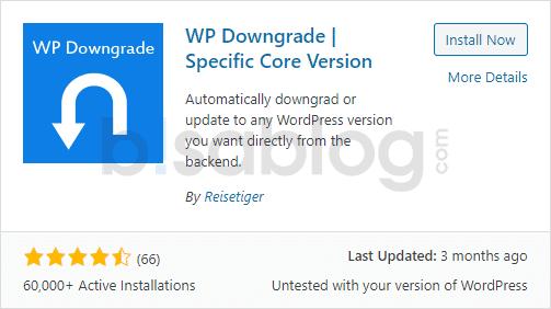 Plugin WP Downgrade untuk mengembalikan WordPress ke versi sebelumnya