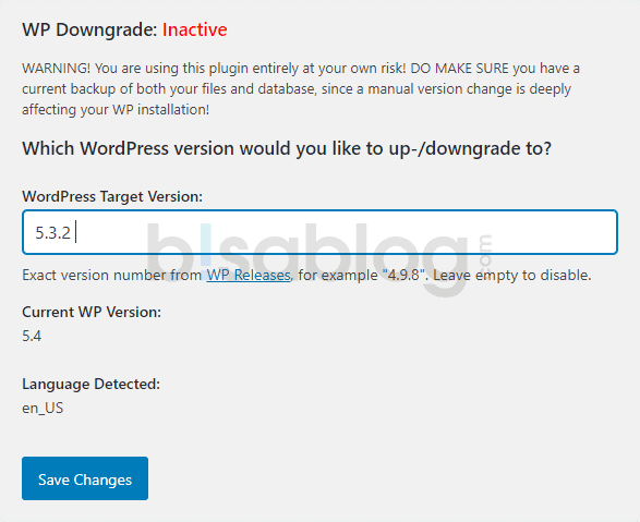 Downgrade WordPress ke versi lama dengan plugin WP Downgrade