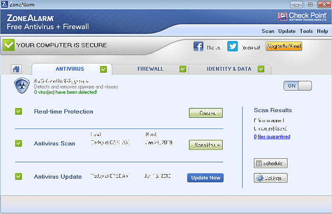 ZoneAlarm adalah free antivirus terbaik untuk PC
