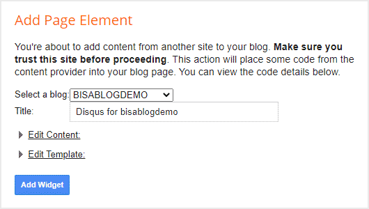 buat widget untuk memasang komentar Disqus di Blogger (blogspot)