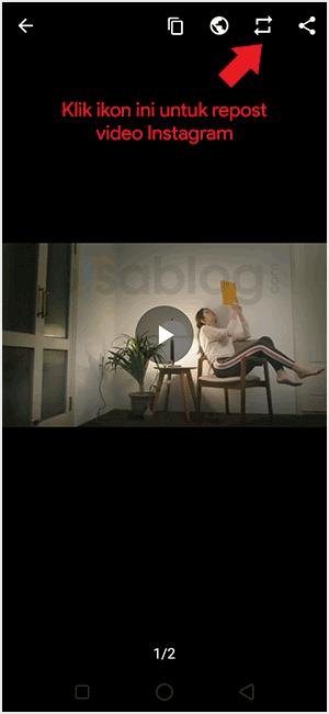 cara repost video instagram
