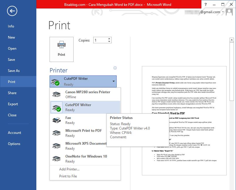 cara mengubah file Word ke PDF dengan aplikasi