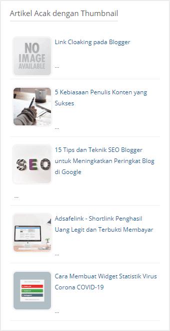 cara membuat widget pos acak di blogger dengan thumbnail