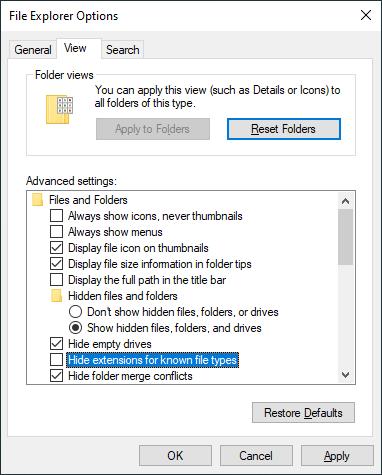 Buka File Explorer Options untuk menonaktifkan opsi Hide ekstensions for Known file types