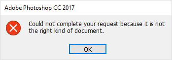 Could not Complete your Request because it is not the right kind of document.