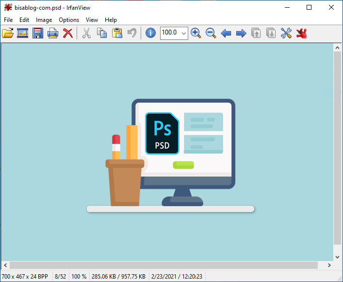 buka file psd dan convert ke format gambar lain dengan irfanview
