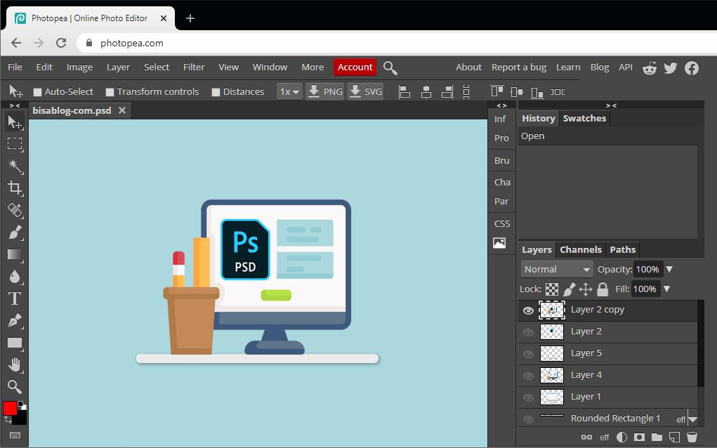 edit file psd dengan layer secara online menggunakan photopea